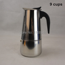 1pc 9 Cup 450ml Stainless Steel Moka Espresso Latte Percolator Stove Top Coffee Maker Pot(China (Mainland))