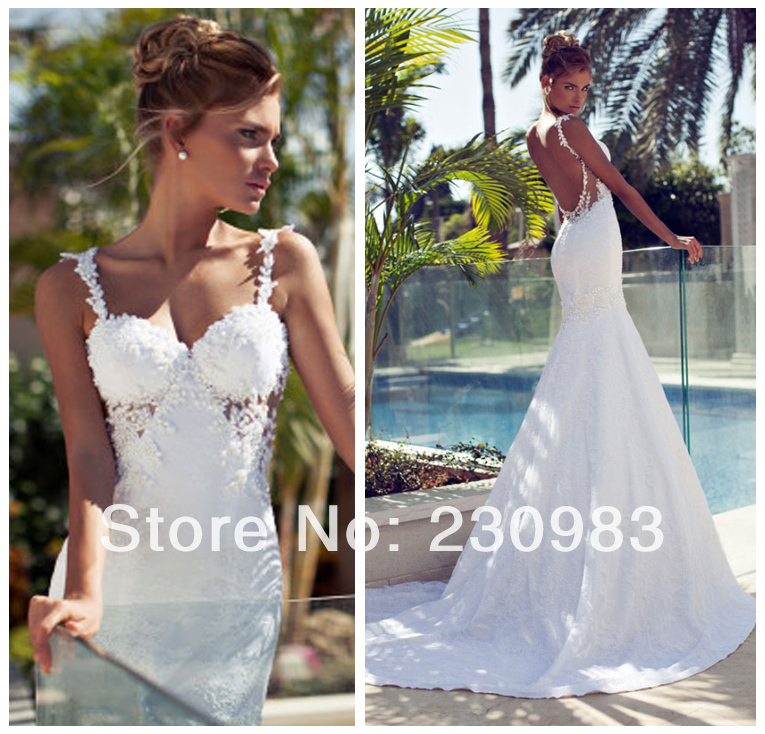 Elegant Sweetheart Neckline Slim Straps Applique Long Mermaid Wedding Dresses 2014 Backless Cheap Bridal Gown - Abby's Studio store