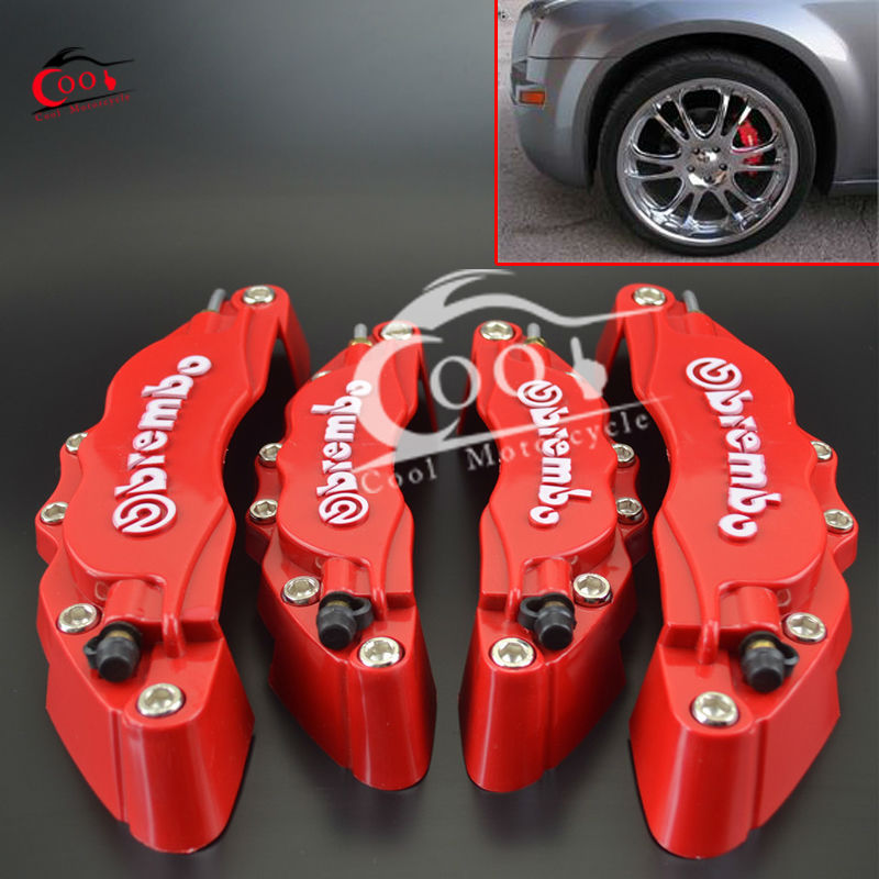 Universal 3D Car Truck Brembo Red Front Rear Disc Brake Caliper Covers Parts Set Free Shipping(China (Mainland))