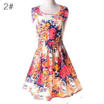 2015 весна лето осень новый корейских женщин свободного покроя богемское флористическое леопарда печатных шифон платье