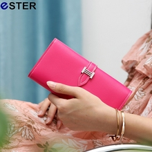 2016 New Fashion Luxury Brand Women Wallets Drawstring PU Leather Zipper Wallet Women's Long Design Purse Two Fold Clutch N025