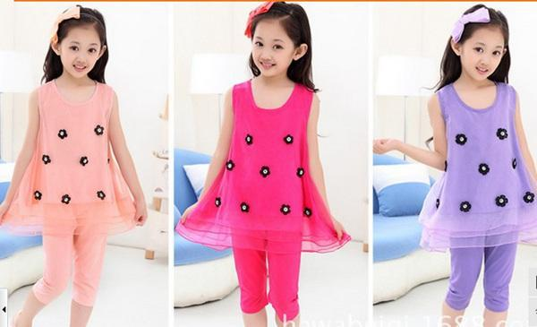 Cuhk child girl Cute Character Clothing Sets kids girl Suit Girls Sleeveless Tops shirt + tight Pants Outfit 3 color 6sets/lot(China (Mainland))