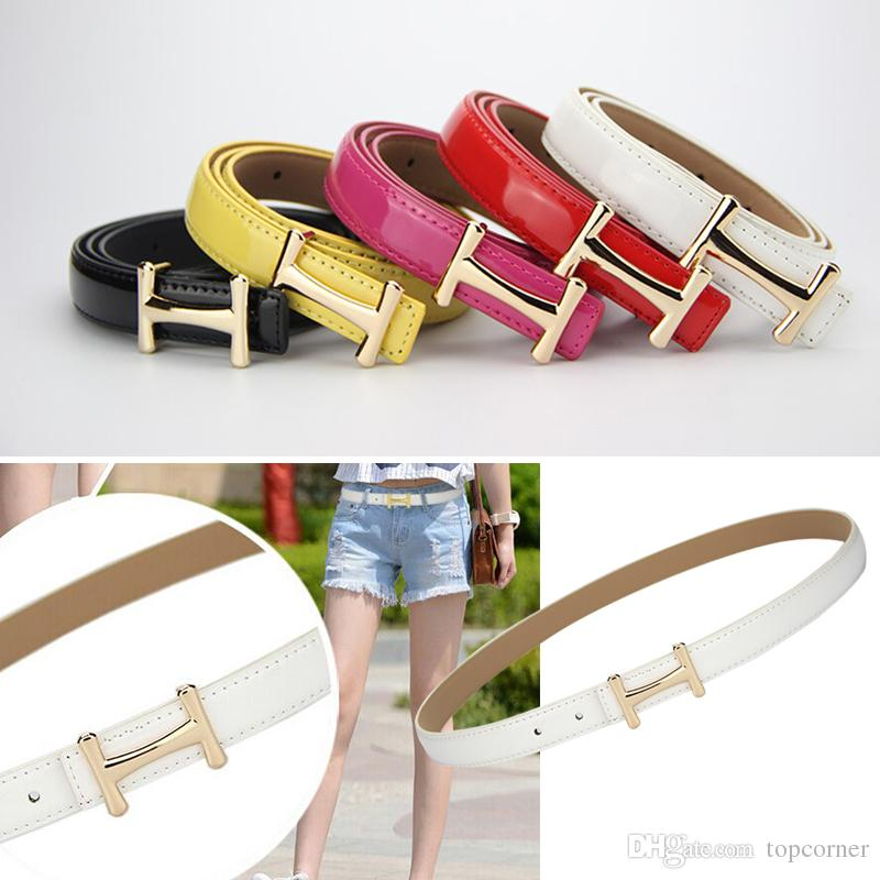 3pcs/lot Fashion lady Waist Belt Slender pants dress Waistbands With H Style Buckles PU Leather thin Belts Solid Color s896