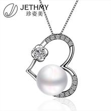 Beautiful Pearl Heart Pendants for Girl Friend Platinum White Gold Plated Zircon Filled Pendants Women Without Chain(China (Mainland))