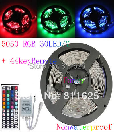 Non-waterproof  RGB Led Strip Light 5M SMD 5050 150 LEDs/Roll +44 keys IR Remote  Free Shipping(China (Mainland))