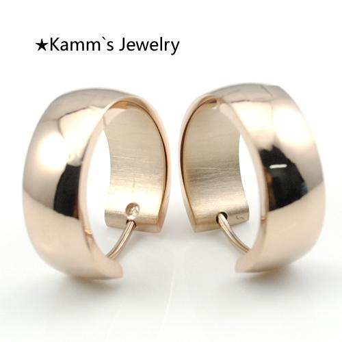 Rose Gold Hoop Earrings Simple Stainless Steel Huggie Clip On Earring Jewellery earing Fashion High Quality Mens Womens KE029(China (Mainland))