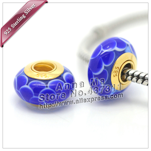 2pcs 585 24K Gold Plated Navy blue Lotus Murano Glass Charm Beads Fits For European Jewelry Charm Bracelets & Necklace Pendants(China (Mainland))