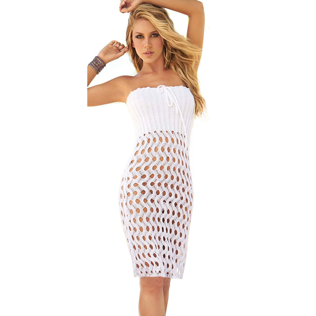 Мода Бланко Кабриолет Бикини Cover Up Пляж Юбка Белый Крючком Пляж Платье Сексуальный Купальник Крышку Ибп