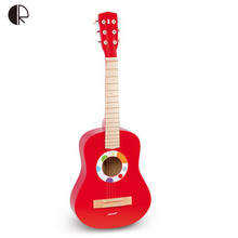 Kids Wooden Guitar High Quality Red Baby Iron Strings Wooden Guitar Toy Musical Instrument Educational Musical Toys HT150(China (Mainland))