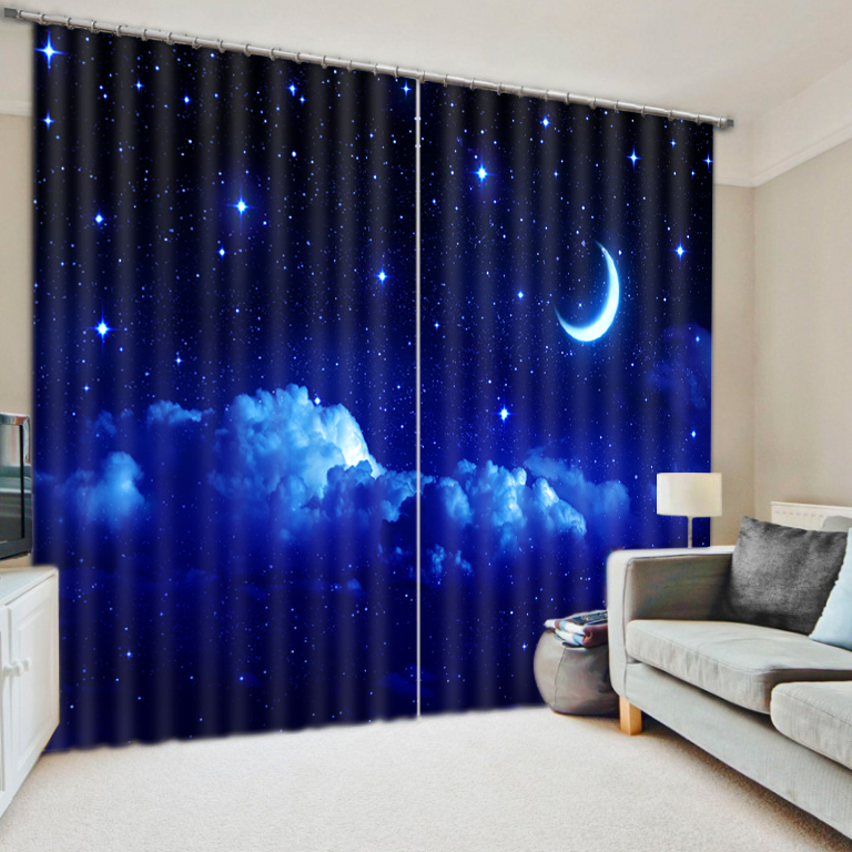 Modern Luxury Fantasy Moon Star Night 3d Blackout Window Curtains For Kids Bedding Room Living