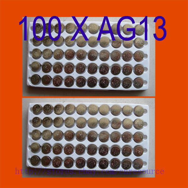100PCS AG13 Button Cell Batteries AG 13 G13 LR44 A76 N ship by air mail(China (Mainland))
