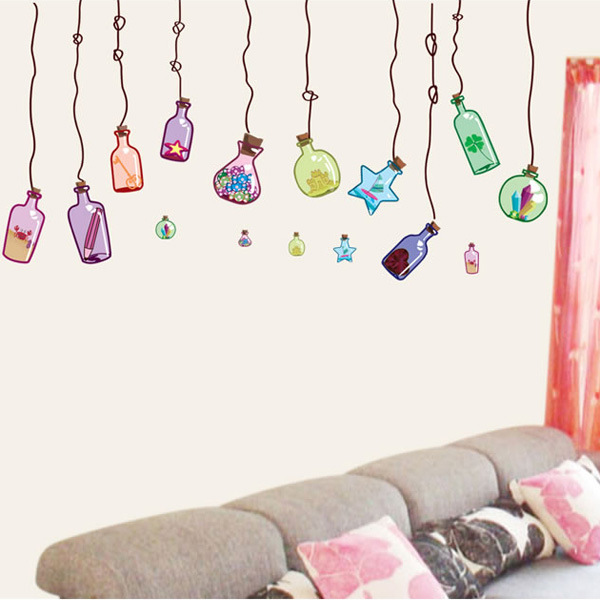 Hot Drifting bottle stickers for wall decoration stickers for kids chart kids wall stickers for wall decoration Home Decor(China (Mainland))