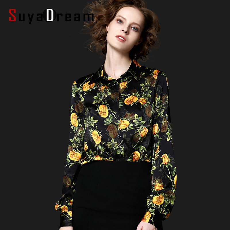 Elegant Satin Blouse 2015 Womens Long Sleeve Blouses Shirt Black Long Sleeve