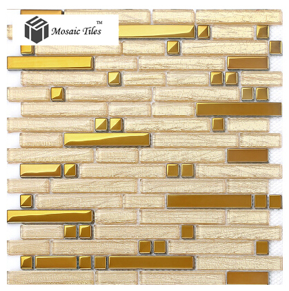 New 2015 gold glass tile kitchen backsplash mosaic tiles Mosaic kitchen wall tiles ideas