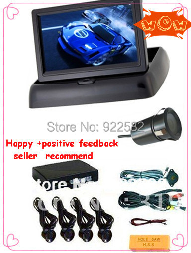 car rear view video parking system/4.3rearview mirror monitor 2CH video + Reverse Camera + Parking Sensor 4/(China (Mainland))