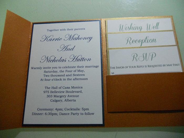 Brown Pearl Paper Pocket Fold Wedding Invitations