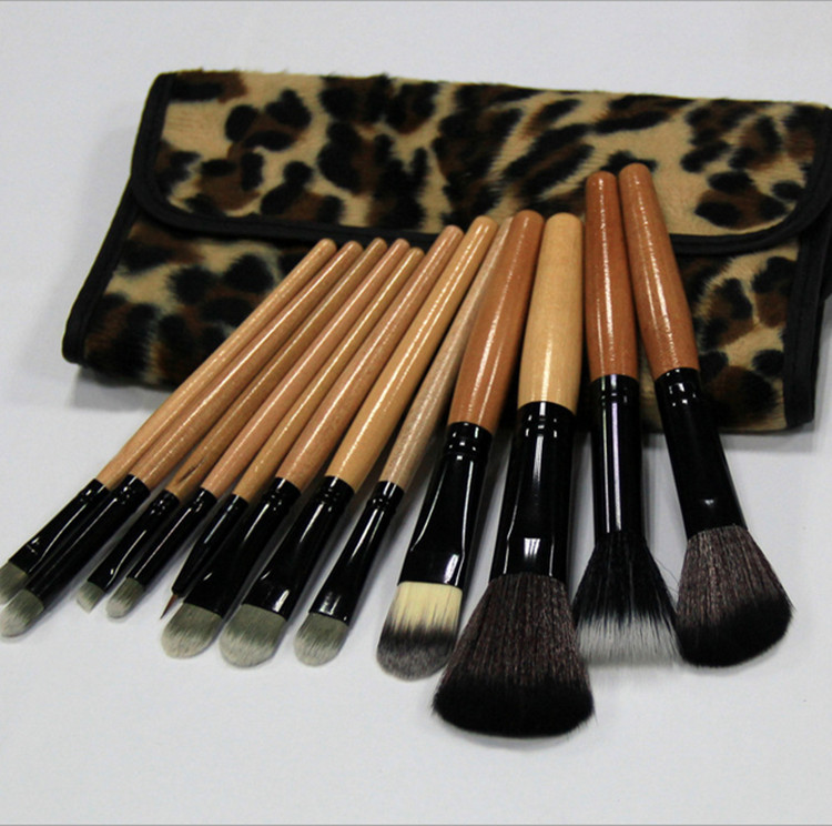 Women Make up brushes Girls Leopard Makeup Brushes 12pcs/Per make up brush set man-made fiber professional makeup brush set(China (Mainland))