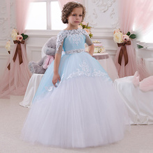 Blue And White Ball Gown Flower Girl Dresses 2016 Plus Size Half Sleeves First Communion For Kids Wedding Party Dresses(China (Mainland))