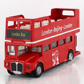 London Bus Double-deck Sightseeing Bus ,Flashing Musical Pull Back Bus, Doors Openable, Electronic Scale Diecast Bus Model Toys(China (Mainland))