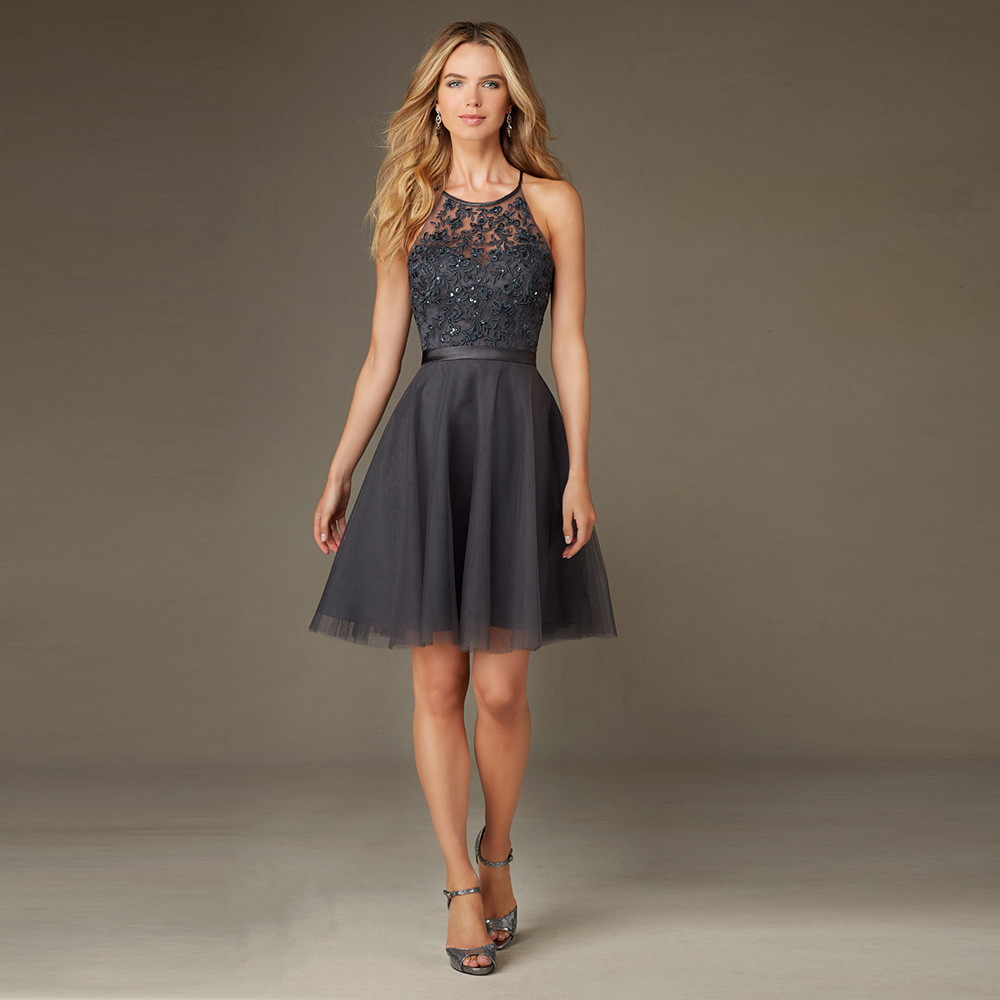 Elegant Scoop Backless Lace Sequined Short A Line Bridesmaid Dresses Wed Direct