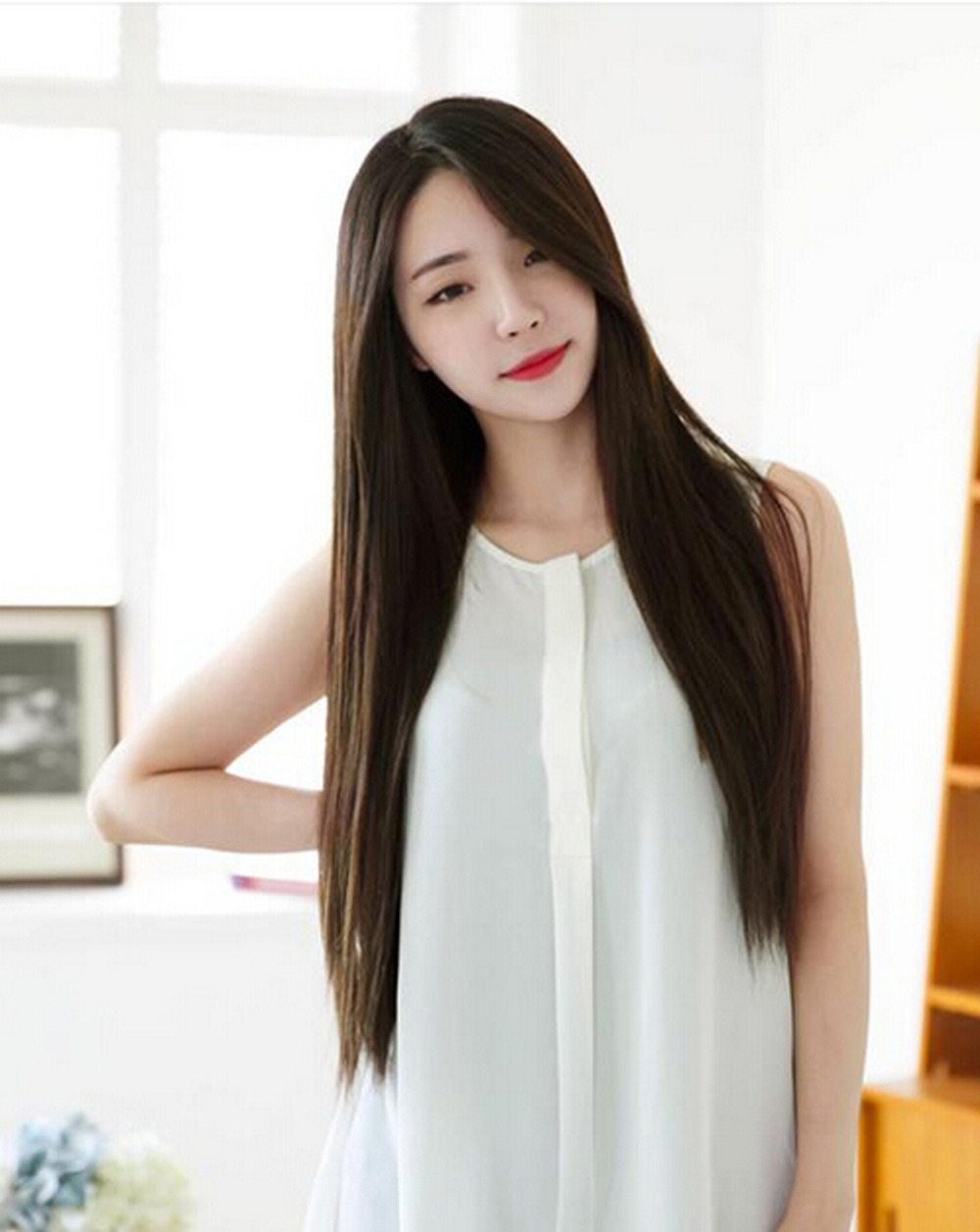1 X Free Shipping 2015 Newest Sweet Korean Style Long Smooth Straight Wig For Women Girls