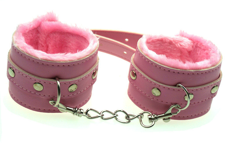 PU Leather Pink Painted Hand Cuffs Novelty Sex Toy,Sex Products Adult Games 1 Pair /sSet(China (Mainland))
