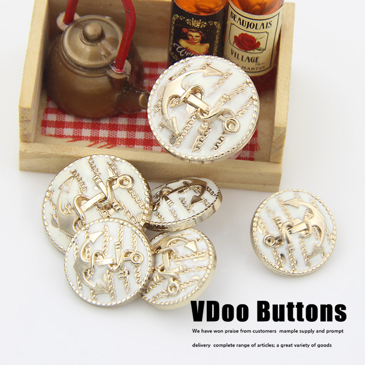 2016 Botones Sewing 10pcs 17mm Wholesale Gold Metal Button With White Combination Shackle-anchor Head Overcoat Buckle Buttons(China (Mainland))