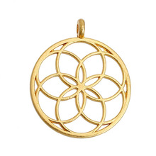 "DoreenBeads Flower of Life Alloy Seed Of Life Pendants Round Gold Plated/Silver tone Hollow 35mm(1 3/8"") x 30mm(1 1/8""), 5 PCs(China (Mainland))"