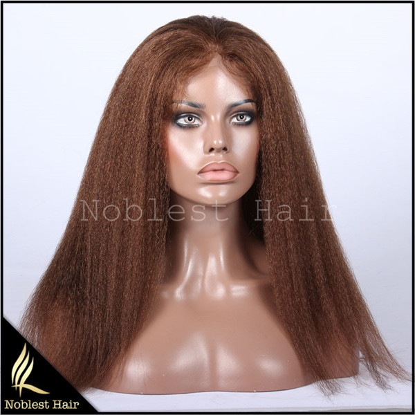 Top Grade 7a Kinky Straight Indian Remy Hair Silk Top Full Lace Wigs(Hidden Knots) Cheap Coarse Kinky Human Hair Lace Wigs(China (Mainland))