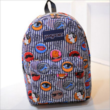 2015 new fashion factory outlets Korean cute girl lip canvas shoulder bag student backpack(China (Mainland))