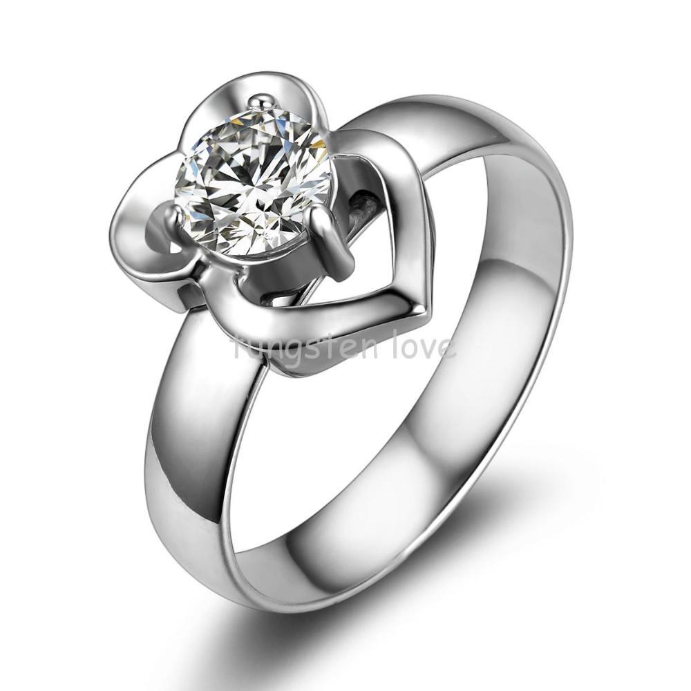 De lujo Para Mujer de Acero Inoxidable Anillos de Compromiso Cz Corazón Infinito Banda para Prometer, aniversario, boda