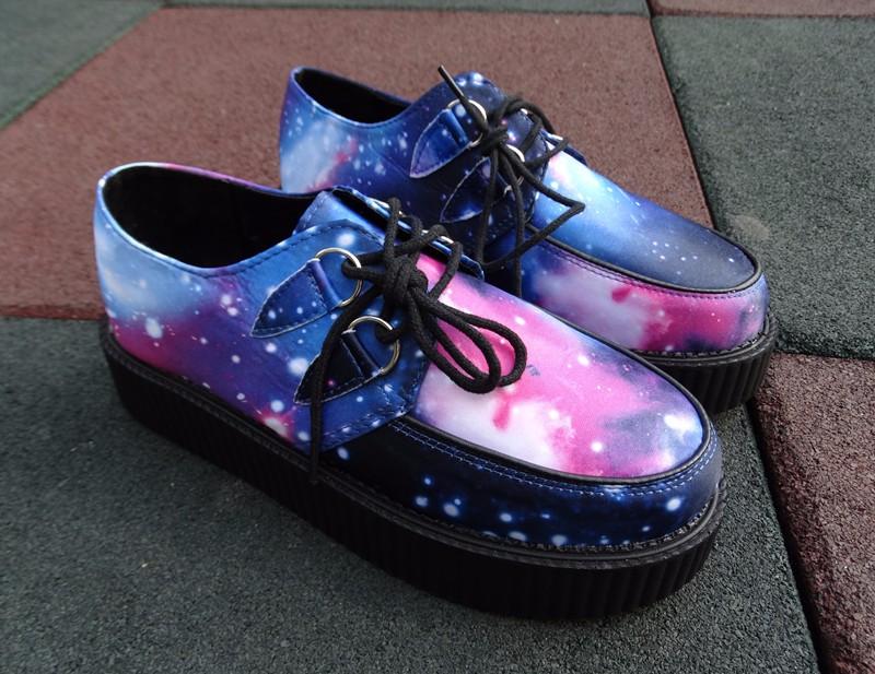 Size 35~40 HARAJUKU VIVI ZIPPER color block galaxy blue flat creepers platform shoes for woman casual women punk creeper