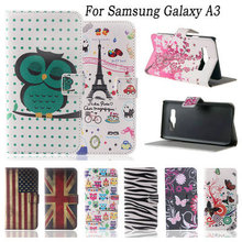 Flower Pattern Flip Stand Wallet PU Leather Cover Case For Samsung Galaxy A3 Butterfly Tower Pattern Fashion Protective Shell(China (Mainland))