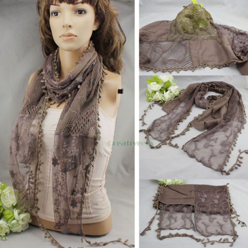 New Stylish Vintage Fashion Women's Mesh Knit Stitching Embroidery Floral Lace Comfortable Long Scarf Shawl With Tassel Trim(China (Mainland))