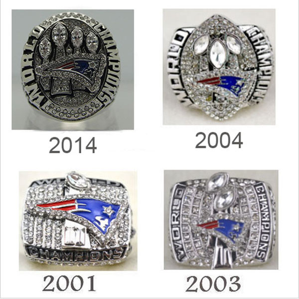 Factory direct sale Replica Super Bowl 4 Years Sets 2001/2003/2004/2014 New England Patriots Championship Rings sets(China (Mainland))