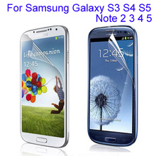 10pcs clear glossy phone screen protector film For Samsung Galaxy S3 S4 S5 Note 2 3 4 5 guard protective film + Cleaning cloth