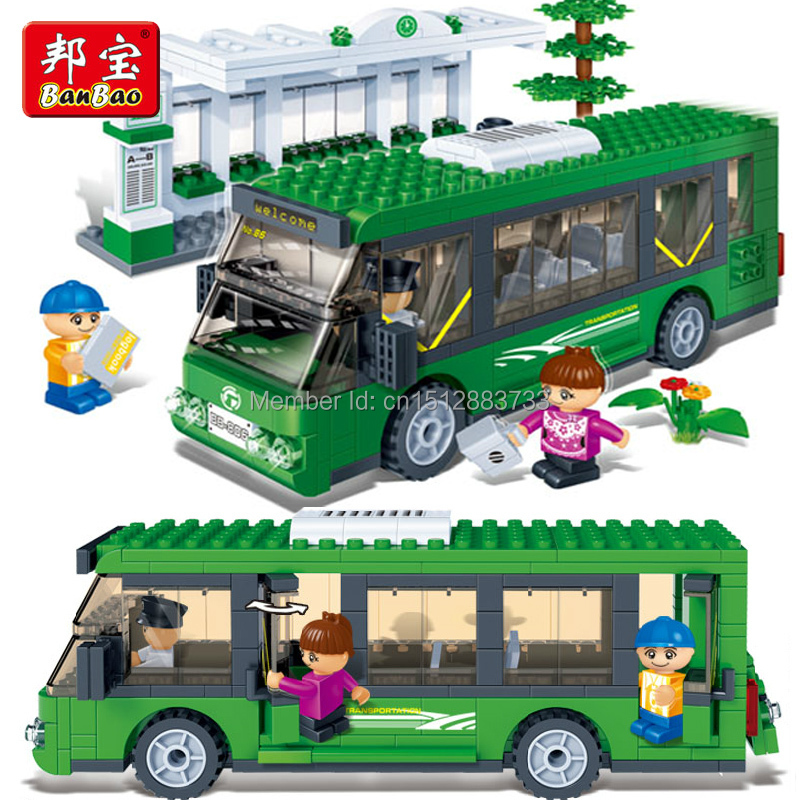 HOT! Bang 372pcs 3d bus stop green bus assembly Children Educational Toys gift blocks Compatible with L-ego(China (Mainland))