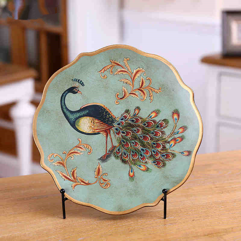 30 cm China style ceramic peacock decoration plate porcelain lucky bird ornament home decoration wedding gift(China (Mainland))