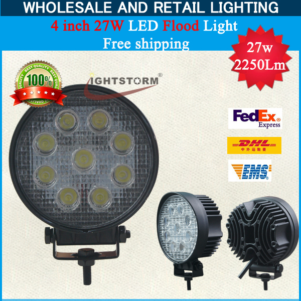 Big promotion!Free Shipping! SUV/ATV Lamp 27w 10-30V Aluminium Alloy Super Bright Led Work Light 2500Lm High Quality Best Price!