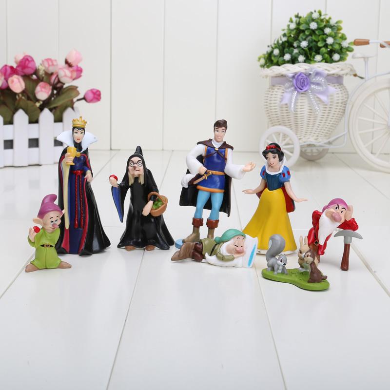 8pcs/set 3-8cm Free shipping PVC Princess Snow white and the Seven Dwarfs Queen Prince Figure pvc toys(China (Mainland))