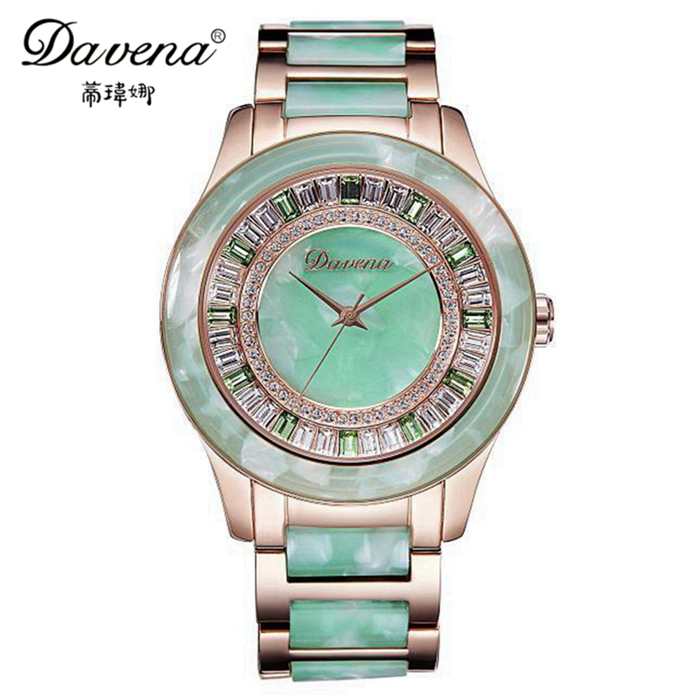 Luxury women dress rhinestone watches fashion casual quartz watch Sun ceramic wristwatches Top brand Davena 60603 relogio clock