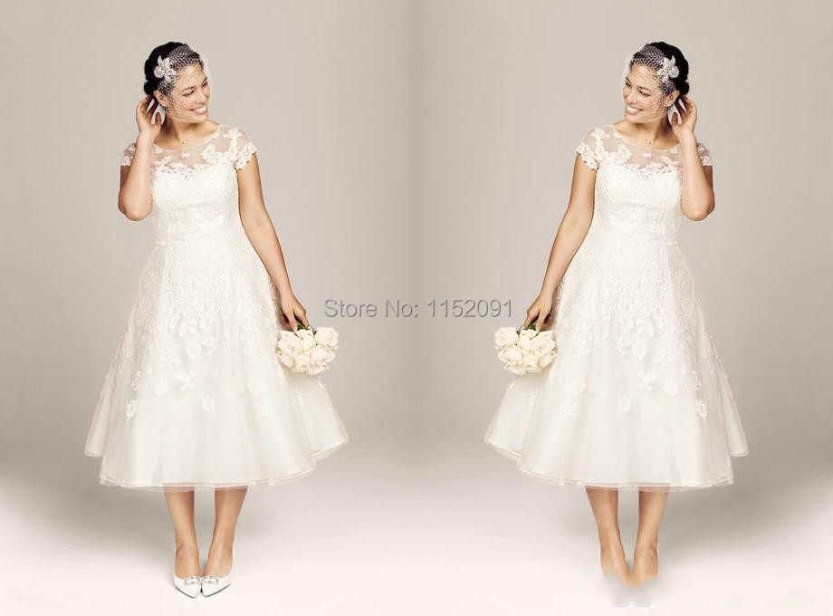 Plus Size Lace Tea Length Wedding Dresses Plus Size Tea Length Lace