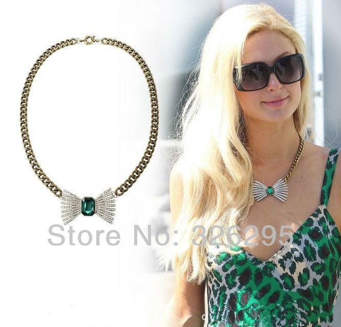 Paris Hilton Style The Emerald Heart Of The Ocean Crystal Butterfly Necklace For Girls Summer 2013 New In Fashion Jewelry(China (Mainland))