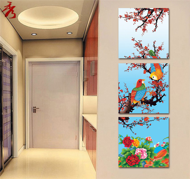 Chinese Traditional Painting birds peony flower Abstract Home Villa hotel Room Corridor Decor Canvas 3 panel Art Modular Picture(China (Mainland))