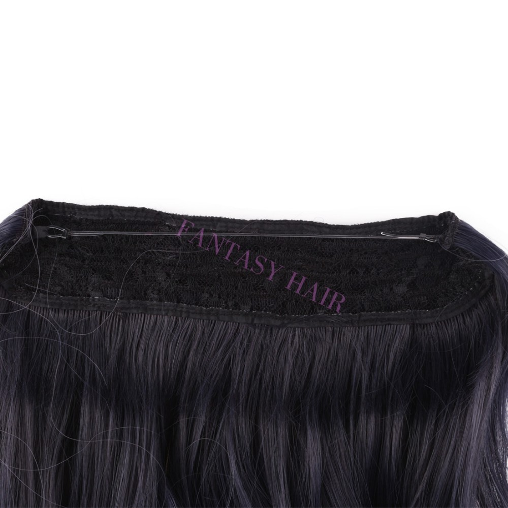 20 inch one piece brazilian natural wave light purple lavender black ombre hair lady synthetic invisible flip in hair extensions-5