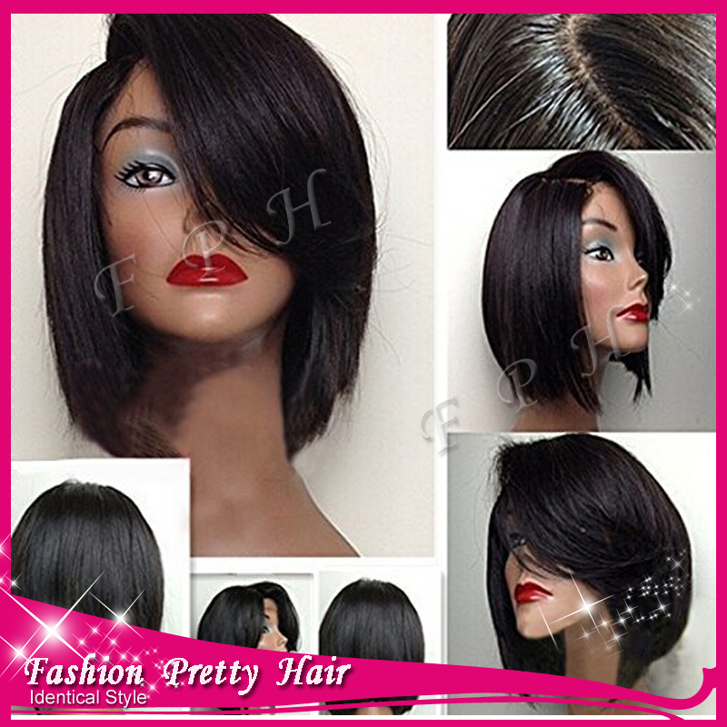 100% Malaysian Virgin Human Hair Full Lace Wig Glueless Human Hair Lace Front Wig Short Bob Wig With Baby Hair For Sale!!!
