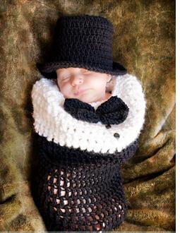 Sale crochet baby black newborn gentlemen hat and sleeping bag fotografia costume quality fantasias para bebes de croche new(China (Mainland))