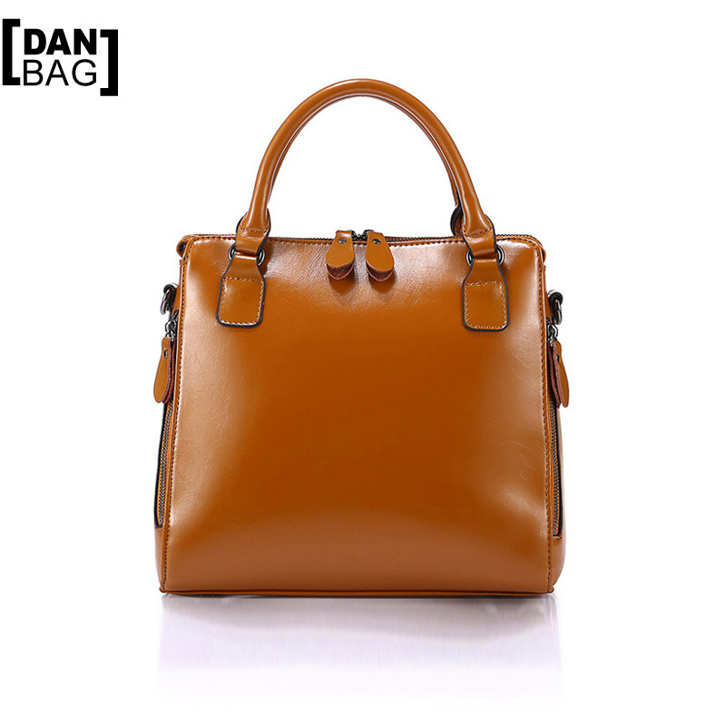 Hot 2015 New Listing Fashion Genuine Leather Bag Oil Wax Leather Tote Simple Style Women Messenger Bags Leather Handbags 7 Color(China (Mainland))