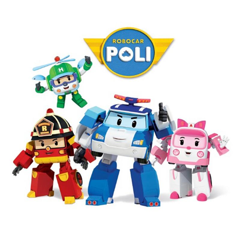 4pcs/Set Robocar Poli Robot Car Transformation Toys Action Anime Figure Kids Toys Gifts(China (Mainland))
