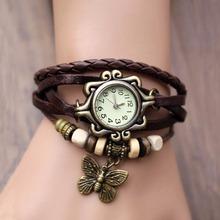 Lackingone 2015 New Fashion relogio feminino leather women Vintage Hand Knit bracelet watch butterfly pendant quartz
